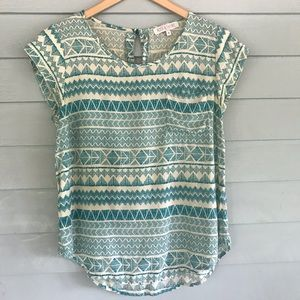 Anthropologie blouse geometric boho design green m